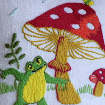 Dame Toadstool's vintage pillow