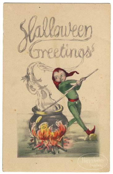Halloween Greetings - vintage postcard