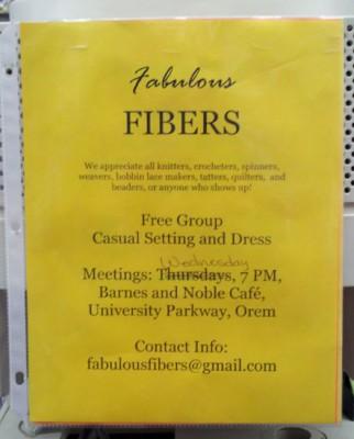 Fabulous Fibers flyer for meetup in Orem, Utah