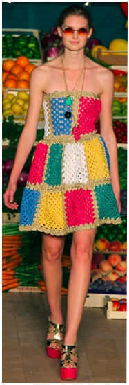crochet patchwork dress of high fashion