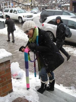 Yarn bomber in action in Park City at Sundance Film Festival