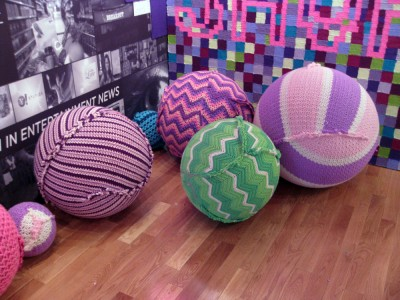 yarn bombed exercise balls at the Yahoo booth at Sundance Film Festival 2012