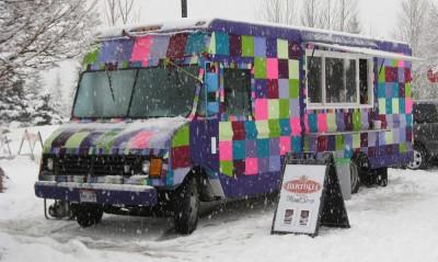 Yarn bombed food truck sponsored by Yahoo at Sundance Film Festival 2012