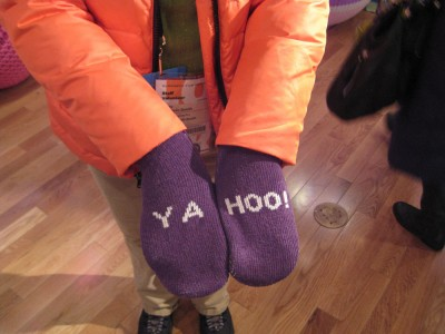 knitted mittens giveaway by Yahoo at Sundance 2012